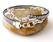 Zipper Chain Bracelet, Dark Grey and Silver Wrap, Recycled, Upcycled, Repurposed - JustKJewellery