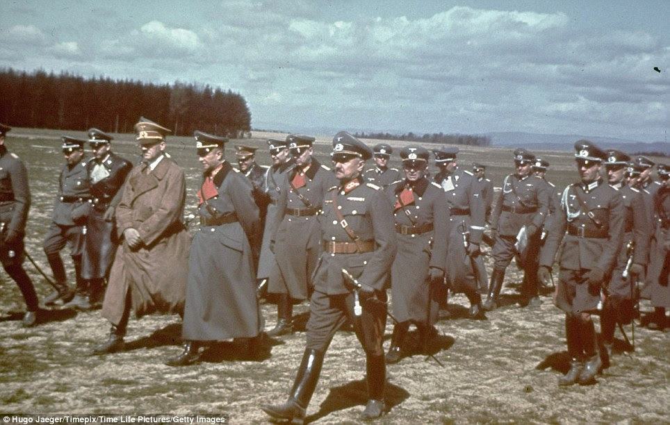 On the warpath: Hitler and his cohorts at army manoeuvres in the spring of 1939 several months before war broke out across Europe