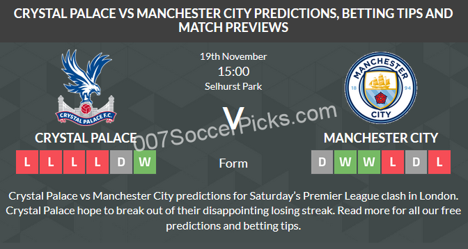 Crystal Palace vs Manchester City - PREDICTION & PREVIEW ...