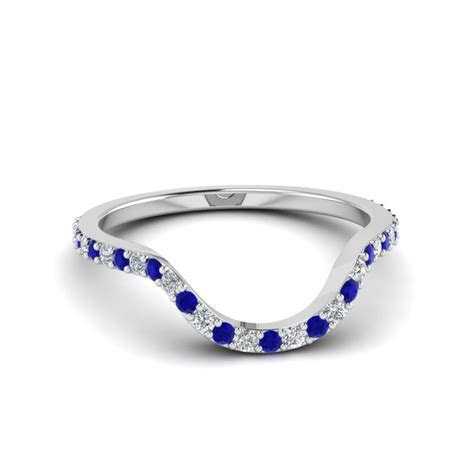 Women Diamond Curved Custom Wedding Band With Blue