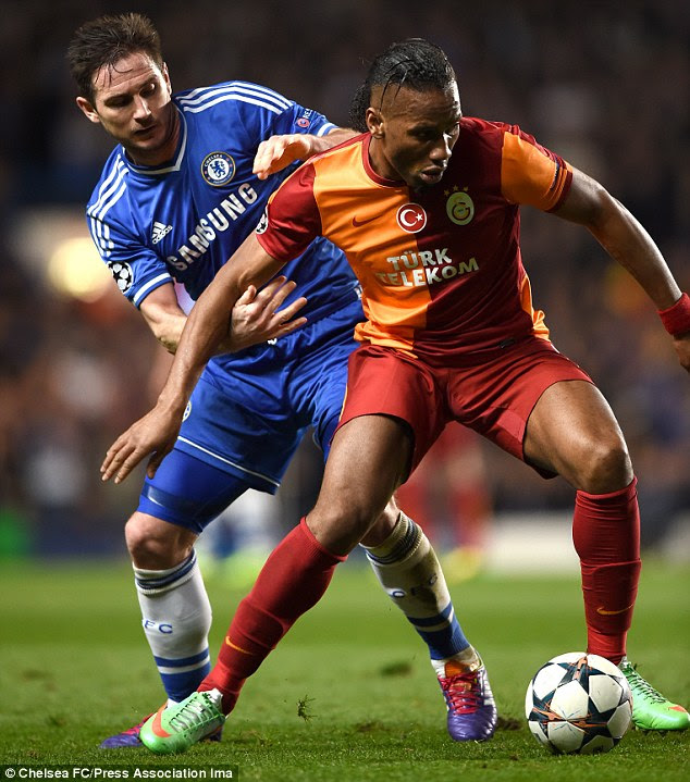 One in one out: Drogba returns to Chelsea after two years away, just as Frank Lampard heads off to New York