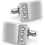 Zodaca New Classic Men`s Wedding Party High Quality Smooth Cufflinks Square Cuff Links - Silver Rectangle with 3 Jewels