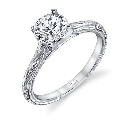 Venetti Engraved Engagement Ring in 14K White Gold