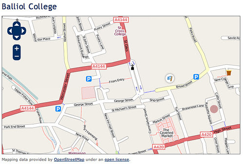 Screen shot around Balliol College, Oxford from Open Street Map