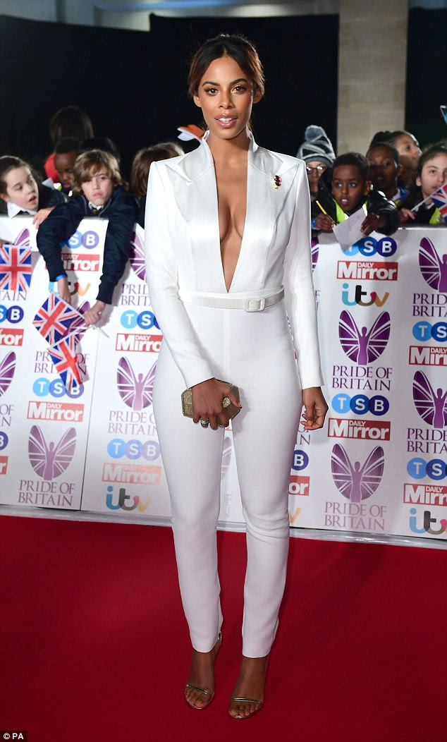 Chic: Rochelle Humes proved she hasn't lost touch with her inner fashionista, as she attended the Pride Of Britain Awards looking preened to perfection on Monday night