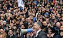 Ukraine leader puts on one-man show as vote frontrunner skips debate