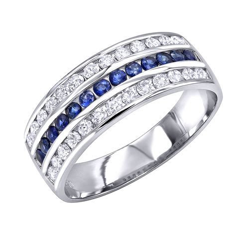 Platinum Sapphire and Diamond Wedding Band for Men or