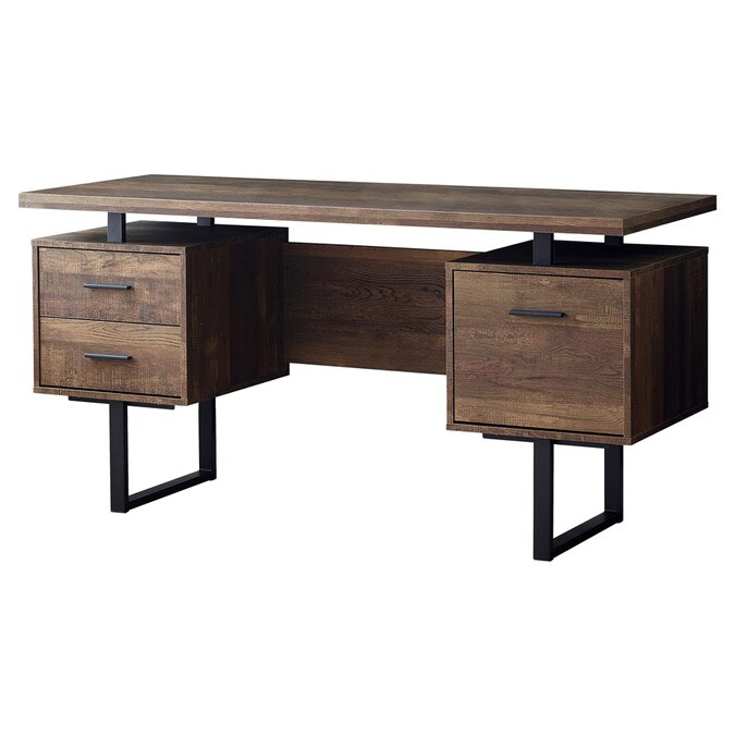 Monarch Specialties 60 In Brown Modern Contemporary Computer Desk In The Desks Department At Lowes Com