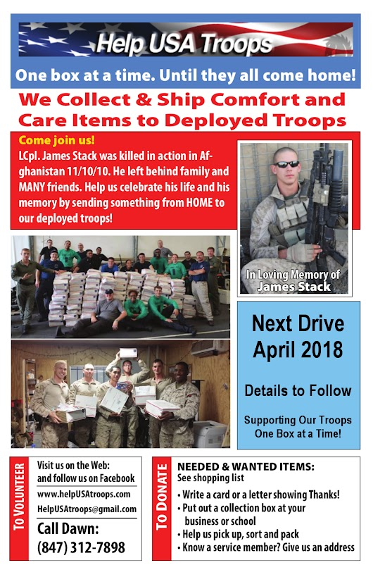 Help USA Troops / #Help USA Troops / Supporting Our Troops One Box at a Time! / We collect care and comfort items to send to deployed service members / Arlington Heights, IL 60004