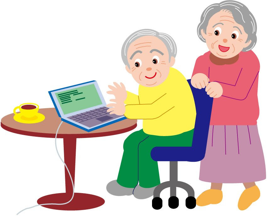 Old couple cartoon Vector Internet via a laptop computer | Vector ...