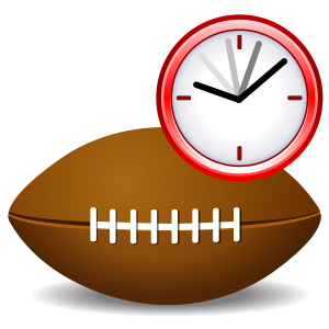 English: American football with clock to repre...