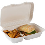 """9"""" x 6"""" 2 Section Molded Fiber Hinged Lid Containers, Case of 250"""