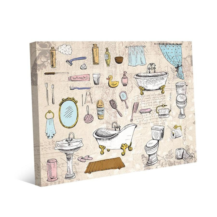Creative Gallery The Bathroom Necessities Pink Frameless 14 In H X 11 In W Bath Canvas Print In The Wall Art Department At Lowes Com
