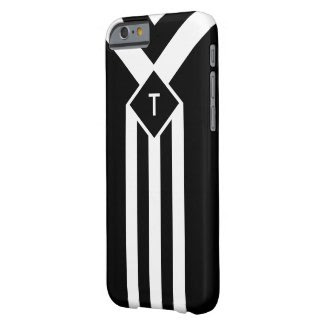 White Stripes and Chevrons on Black with Monogram Barely There iPhone 6 Case