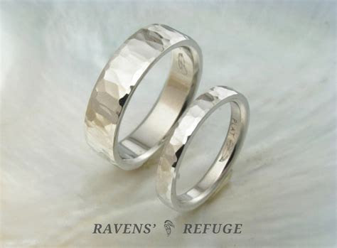 unique hammered wedding bands ? matching platinum rings
