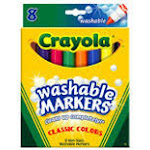 Crayola Llc Formerly Binney & Smith Bin7808 Washable Coloring Markers-8 Colors