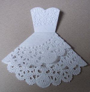 Doily folding into wedding dress. tutorial.   cards and