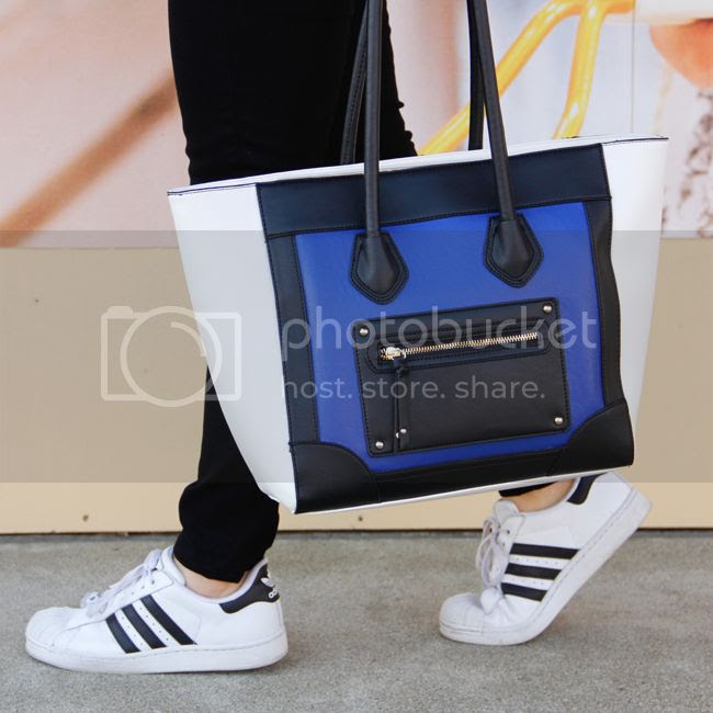 J Brand skinny jeans in black, Mossimo at Target Celine inspired colorblock tote handbag, Adidas superstar 2 sneakers, Celine handbag look for less