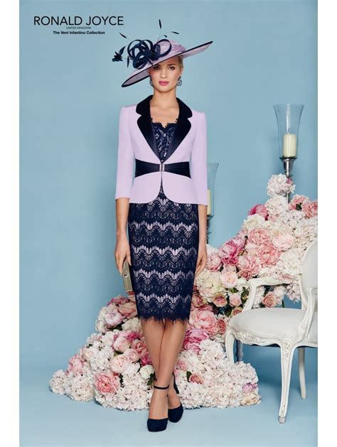 Veni Infantino 991134 Outfit With Lace Sleeve Lilac/Navy