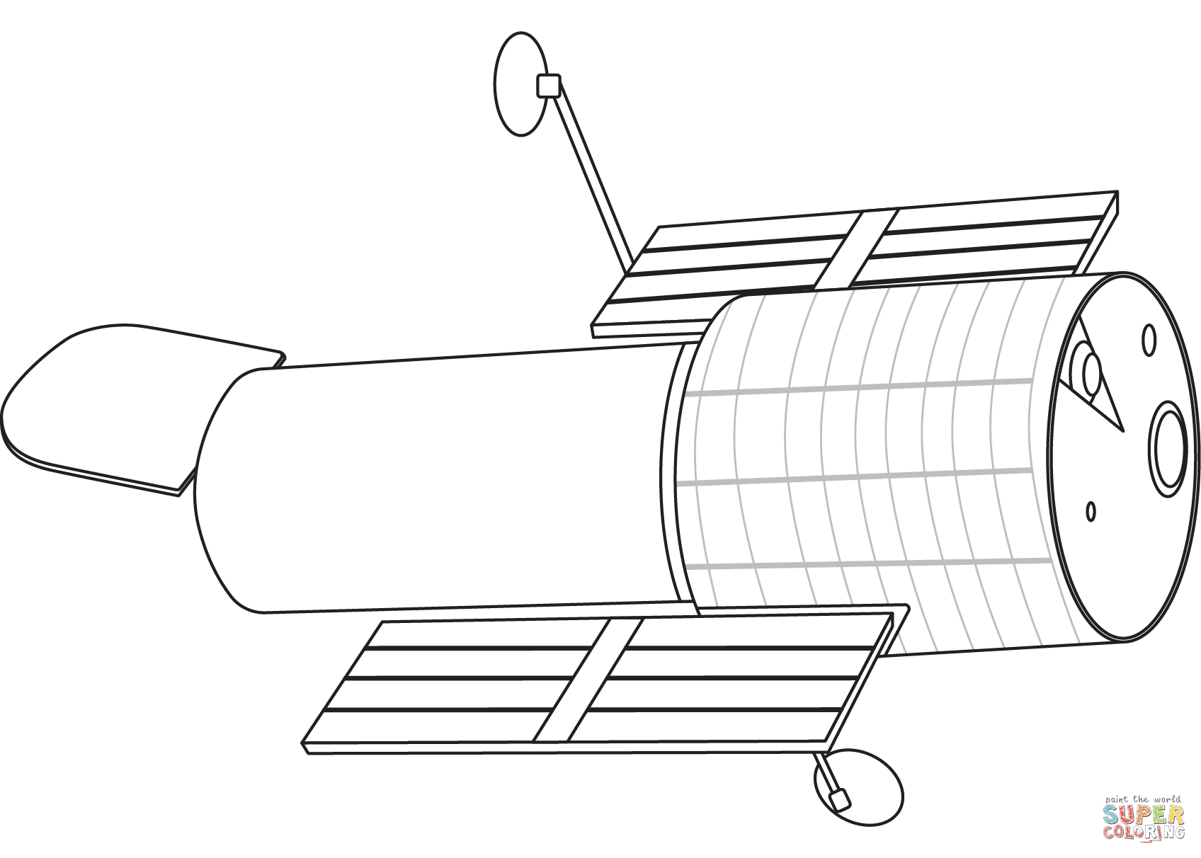 Download Hubble Telescope coloring page | Free Printable Coloring Pages