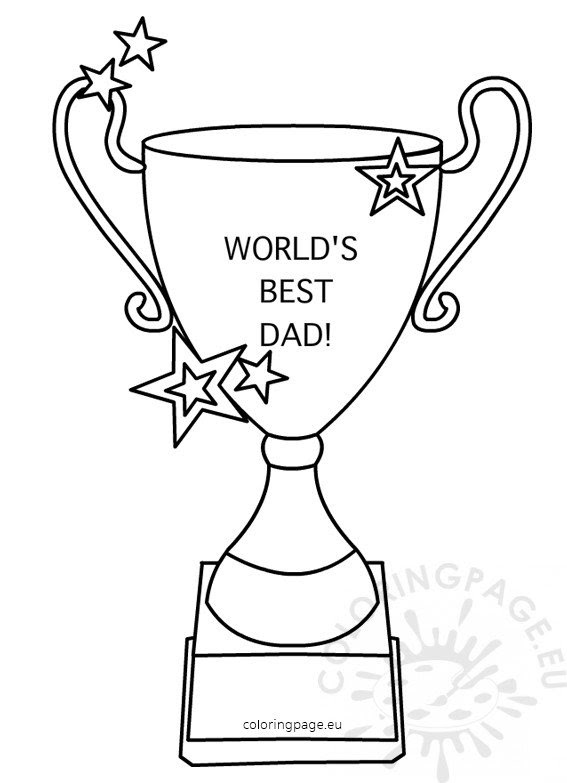 Worlds Best Dad Trophy Shape - Coloring Page