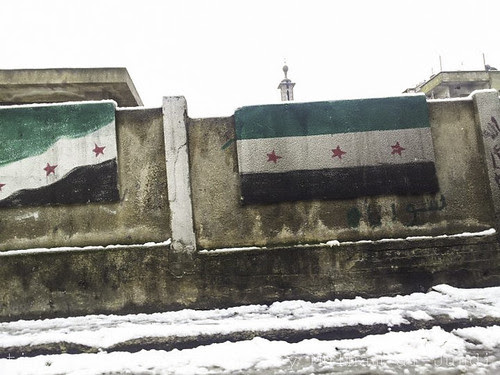 Syria Independence Flag Painted on Gov. School Wall in Homs