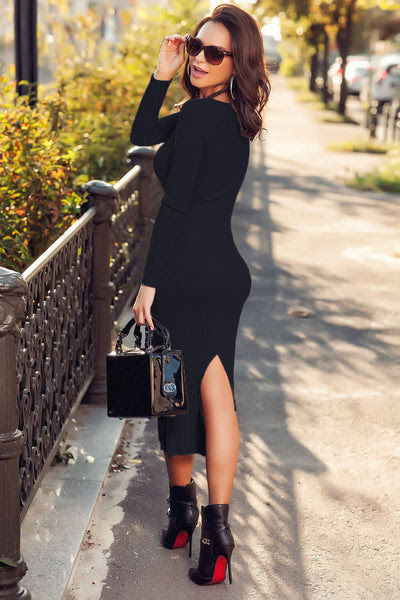 Bodycon dress and ankle boots blue