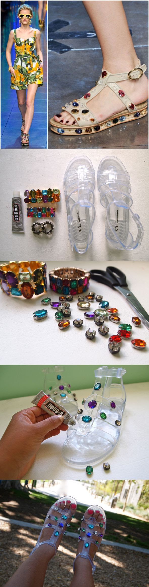 DIY: D&G Jeweled Jelly Sandals - 12 Fashionable DIY Ideas