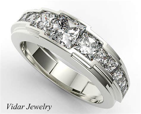 Channel Set Diamond Wedding Band For Mens   Vidar Jewelry