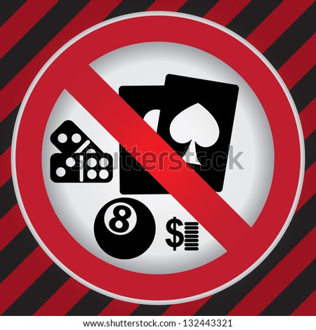 Circle Prohibited Sign For No Gambling Sign in Caution Zone Dark and Red Background - stock photo