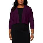 Calvin Klein Womens Plus Knit Open Front Shrug Sweater Purple 1X
