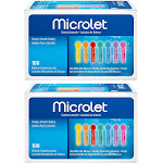 Microlet Lancets, Silicone-Coated, Colored - 100 lancets
