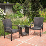 Christopher Knight Home Sarah Wicker 3 Piece Outdoor Stacking Chair Chat Set, Brown
