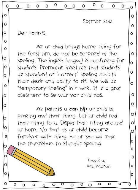 Inventive spelling letter for parents!