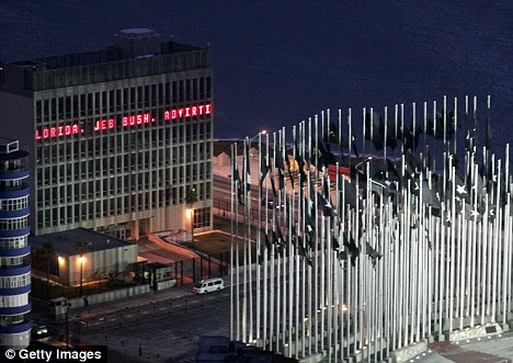 The news ticker showing messages across the American Interest  Section building in Cuba has been switched off