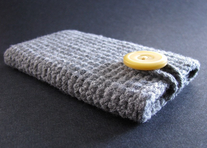 Handmade iPhone, iPod touch case- grey with yellow button
