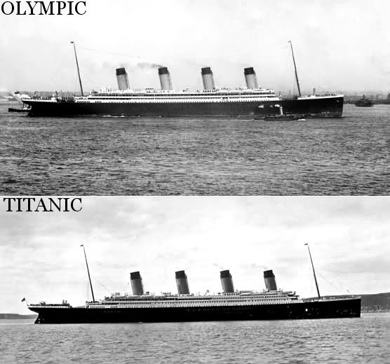 Side by side photos of Olympic and Titanic
