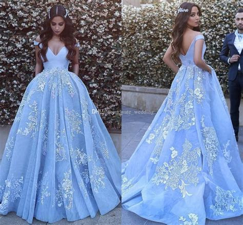 Light Sky Blue Ball Gown Evening Dresses Off Shoulder