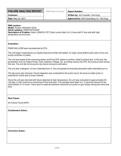Editable Report Template Sample for Failure Analysis with
