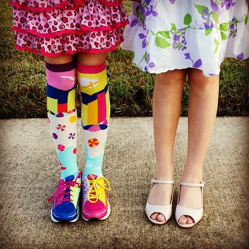 Ready for the school dance today. My twin girls' very different personalities definitely come out in their fashion choices.  #shoes #fashion #kidstyle #themomentschallenge