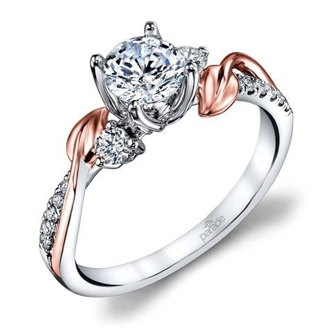 New Leaves Three Stone Diamond Engagement Ring in White