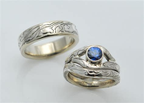 Hand Crafted Three Ring Custom Mokume Gane Wedding Set