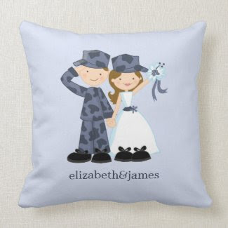 Sailor and Bride Military Wedding Custom Pillow