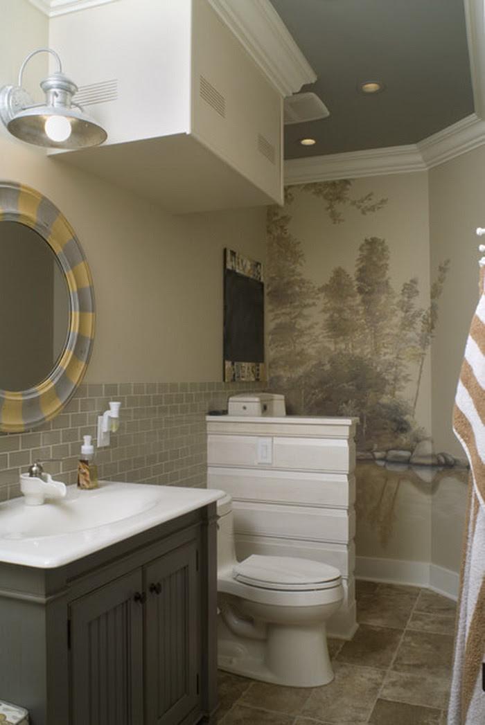 Bathroom: Abstrack Wall Painting Tile Bathroom Backsplash Tiny ...
