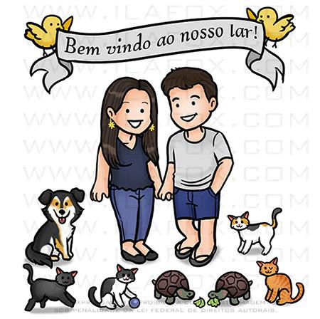 caricatura fofinha, caricatura familia, caricatura divertida, caricatura bichinhos de estimação, by ila fox