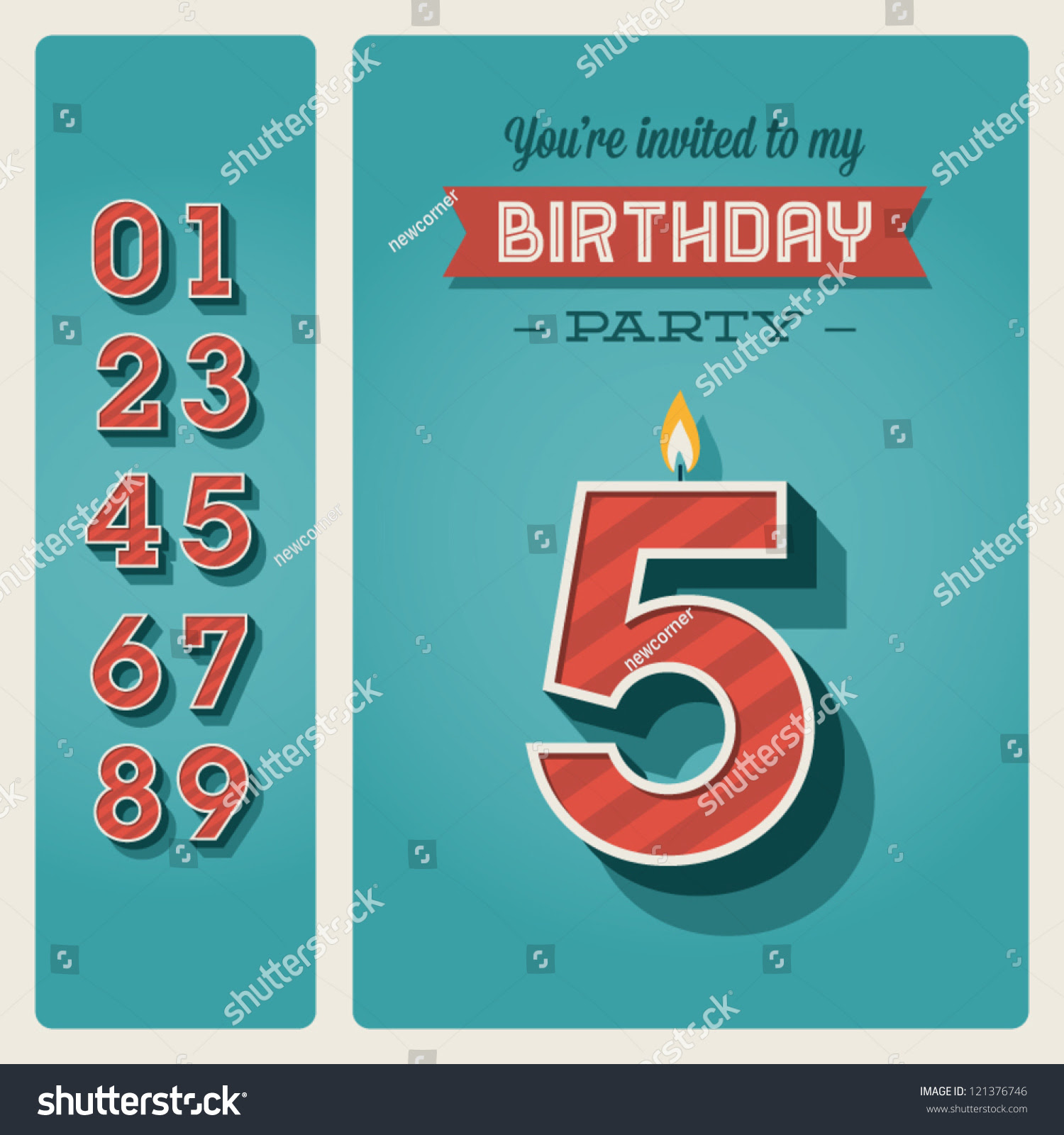 Happy Birthday Card Invitation Candle Number Stock Vector ...