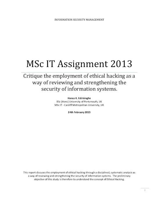 INFORMATION SECURITY MANAGEMENT - Critique the employment of ethica...