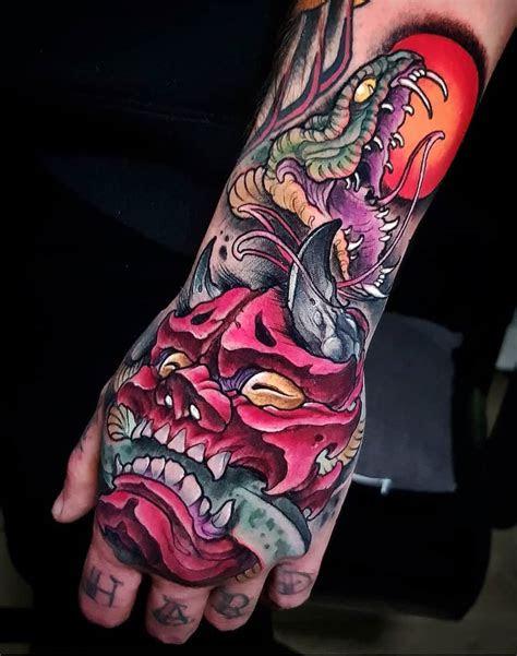 hannya mask snake tattoo design ideas