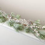Artificial Snow Flocked Pine and Berry Garland, 54'' long, Green, Craft Supplies