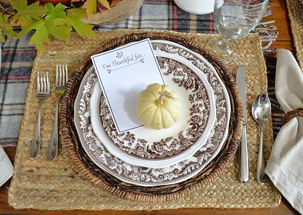 Spode Delamere brown transferware plates Thanksgiving setting